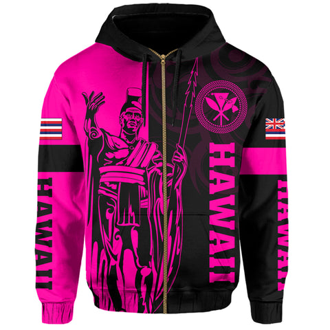 Image of Hawaii King Polynesian Hoodie (Zip-up) - Lawla Style Pink - AH - J4