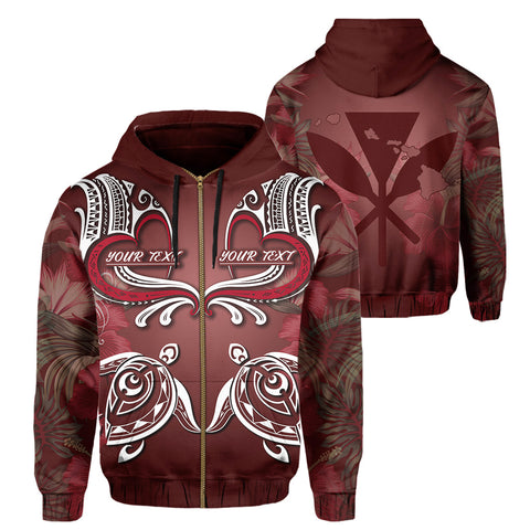 (Personalised) Hawaii Love Valentines Day Turtle Polynesian Hoodie (Zip-up)