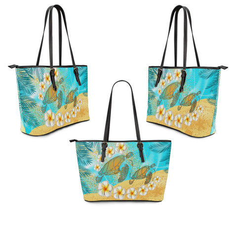 Hawaii Turtle Plumeria Summer Leather Tote - Sea Style - AH - JA