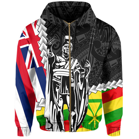 Image of Hawaii Two Flag Kanaka Maoli King Polynesian Hoodie (Zip-up) - AH - J4 - Alohawaii