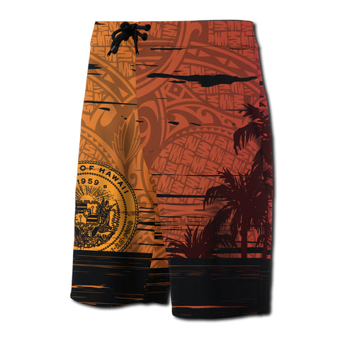 Hawaii Sunset Coat Of Arm Polynesian Board Short - AH J4 - Alohawaii
