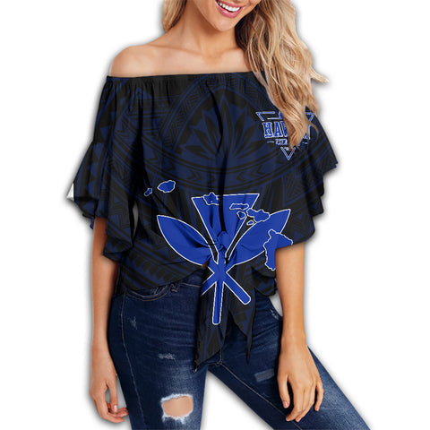 Image of Kanaka Map Polynesian Off Shoulder Waist Wrap Top - Blue Heart