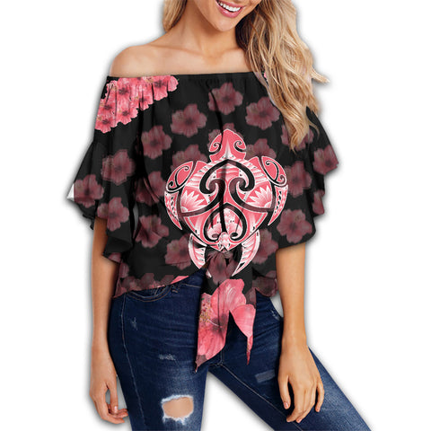 (Personalized) Kanaka Turtle Hibiscus Off Shoulder Waist Wrap Top - Black Pink
