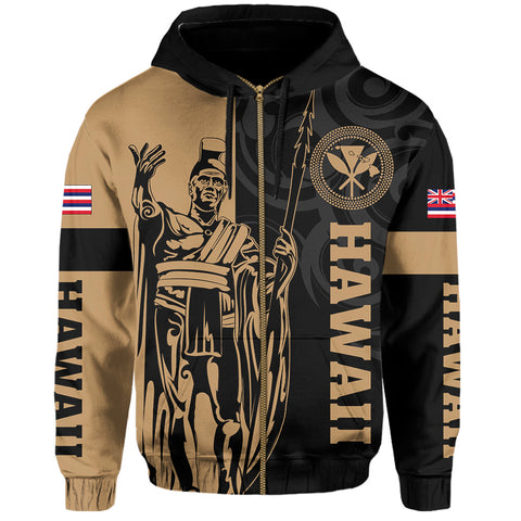 Hawaii King Polynesian Hoodie (Zip-up) - Lawla Style - AH - J4