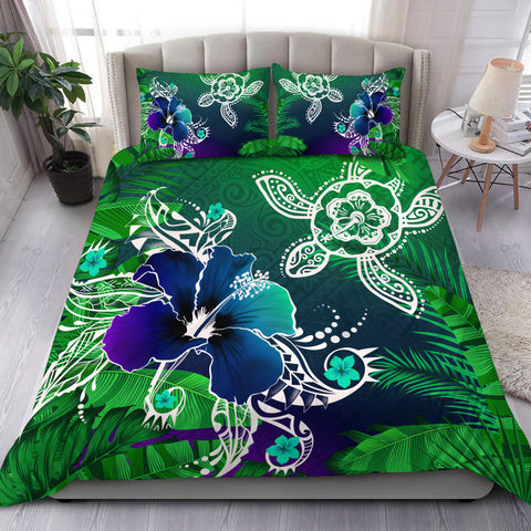 Hawaii Turtle Flowers And Palms Retro