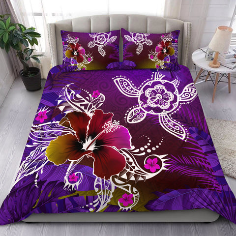 Hawaii Turtle Flowers And Palms Retro Bedding Set