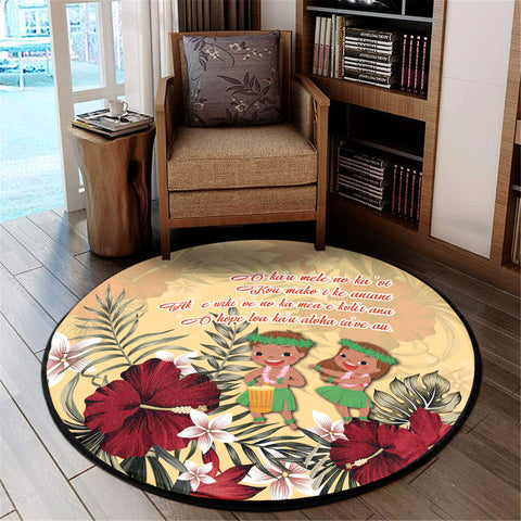 Image of Hawaii Hibiscus Hawaiian Love Poem Valentine's Round Carpet - Amour Style - AH - J3