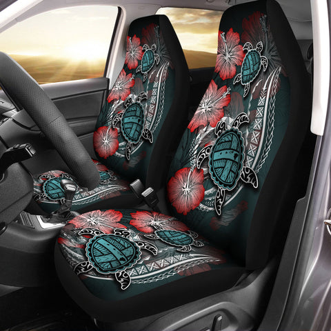 Hawaii Turtle Map Hibiscus Polynesian Car Seat Covers
