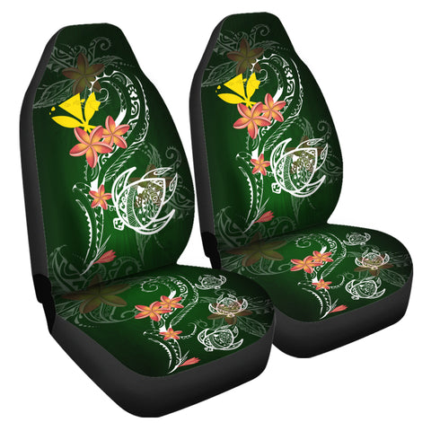 Hawaii Turtle Plumeria Polynesian Car Seat Covers - Luck Style
