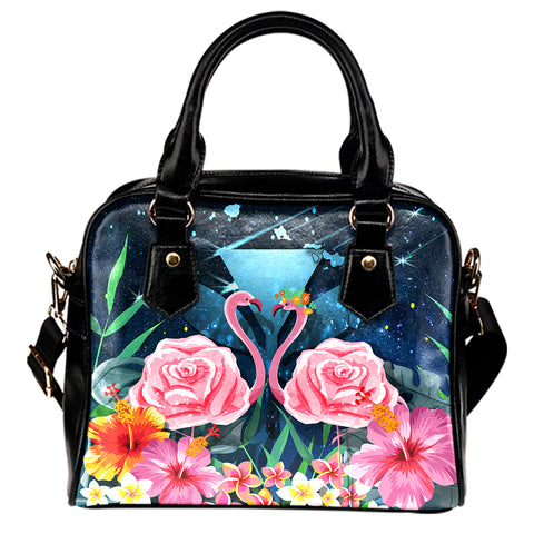 Kanaka Flamingo Couple Rose Hibiscus Plumeria Shoulder Handbag - Love Universe
