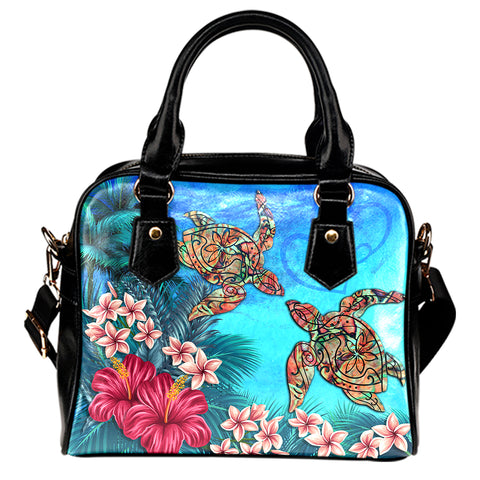 Hawaii Turtle Hibiscus Sea Shoulder Handbag - Ocean Of Love