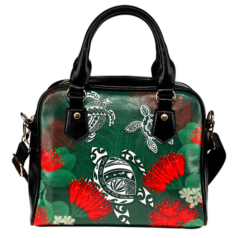 Hawaii Lehua Flowers Turtle Poly Shoulder Handbag