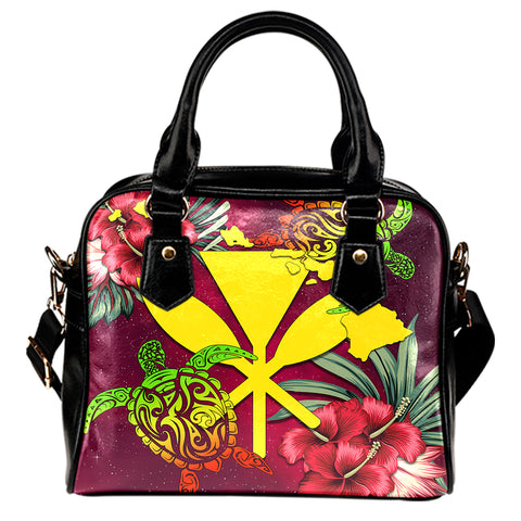 Kanaka Map Turtle Hibiscus Shoulder Handbag - Red Velvet - AH JW
