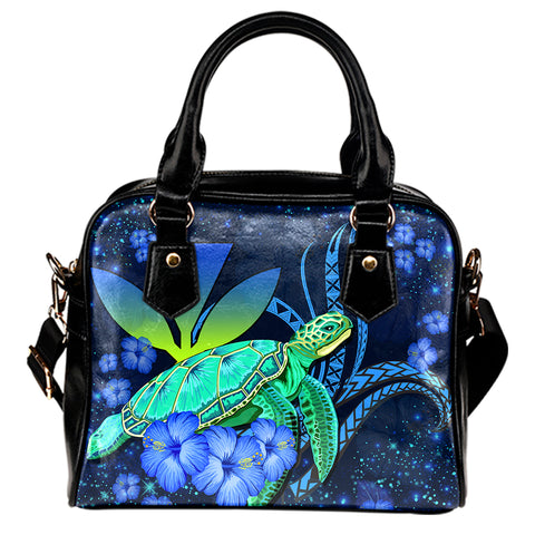Hawaii Turtle Hibiscus Polynesian Shoulder Handbag - Jade Stone