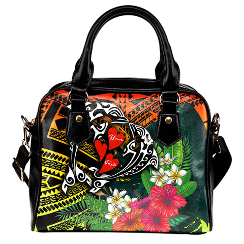 Hawaii Dophin Couple Love Polynesian Flower Shoulder Handbag