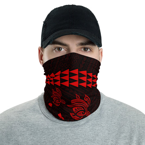 Image of Hawaii Bandana Kakau Polynesian Three Turtle Map Neck Gaiter - Red - AH - J6 - Alohawaii