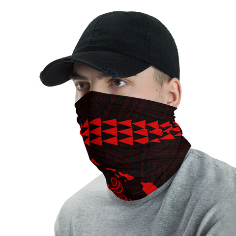Image of Hawaii Bandana Kakau Polynesian Turtle Map Neck Gaiter - Red - AH - J6 - Alohawaii