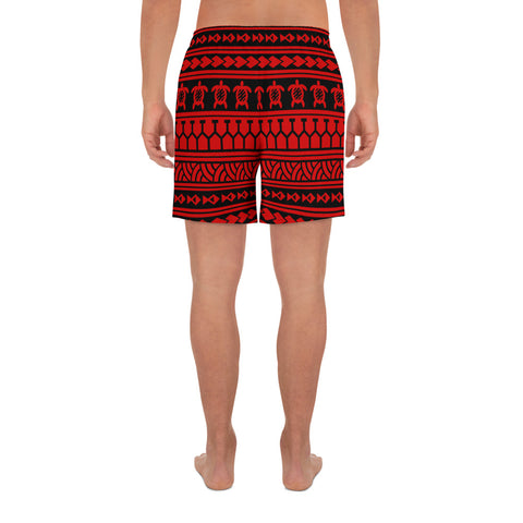 Polynesian Tattoo Tribal Red Men's Athletic Long Shorts - AH - J1 - Alohawaii