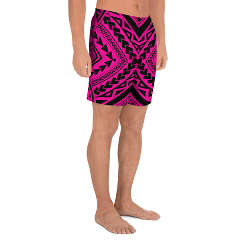 Polynesian Tradition Pink Men's Athletic Long Shorts - AH - J1 - Alohawaii