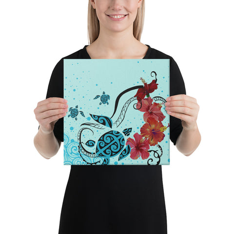 Sea Turtle Hibiscus Canvas - AH - J1 - Alohawaii