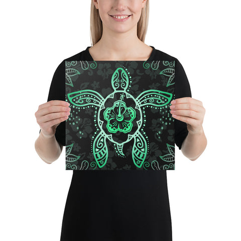 Turtle Hibiscus Green Canvas - AH - J1 - Alohawaii