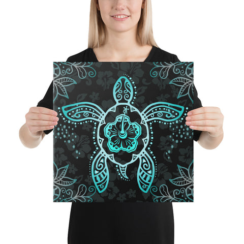 Turtle Hibiscus Blue Canvas - AH - J1 - Alohawaii