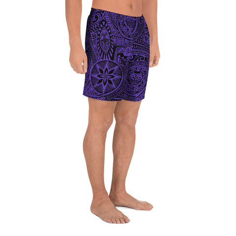 Polynesian Hawaiian Style Tribal Tattoo Violet Men's Short - AH - J11