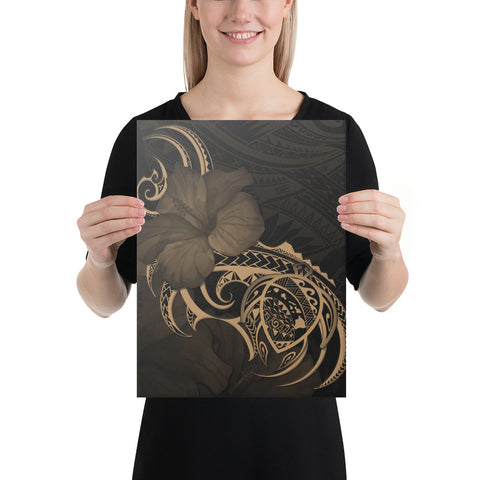 Image of Hawaii Map Turtle Hibiscus Divise Polynesian Gold Canvas - AH - J1 - Alohawaii