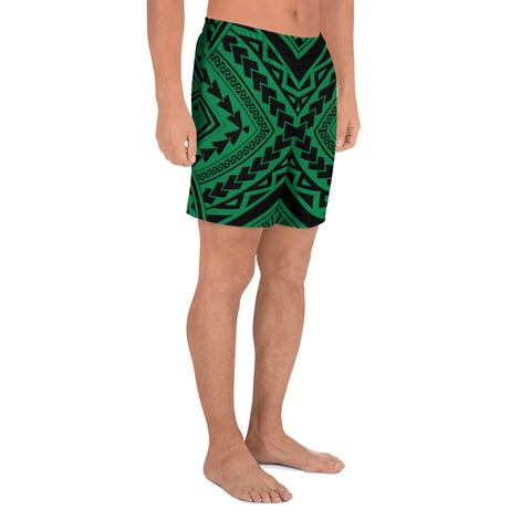 Image of Polynesian Tradition Green Men's Athletic Long Shorts - AH - J1 - Alohawaii
