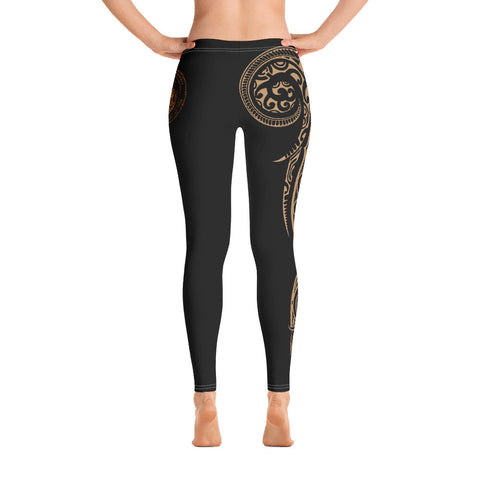 Hawaii State Tattoo Swirly Gold Polynesian Women's Leggings - AH - JG1