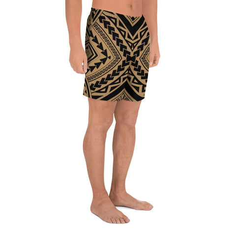 Polynesian Tradition Gold Men's Athletic Long Shorts - AH - J1 - Alohawaii