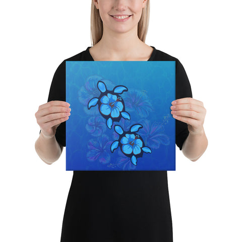 Turtle Hibiscus Ocean Canvas - AH - J1 - Alohawaii