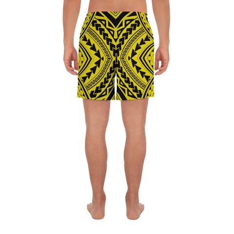 Polynesian Tradition Yellow Men's Athletic Long Shorts - AH - J1 - Alohawaii