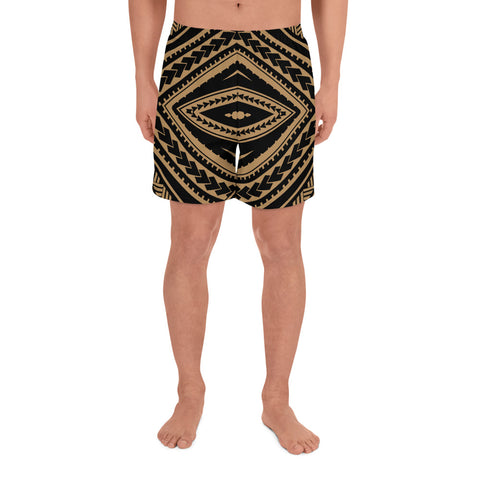 Image of Polynesian Tatau Gold Men's Athletic Long Shorts - AH - J1 - Alohawaii
