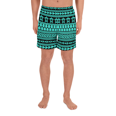 Polynesian Tattoo Tribal Turquoise Men's Athletic Long Shorts - AH - J1 - Alohawaii