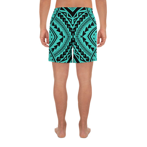 Polynesian Tradition Turquoise Men's Athletic Long Shorts - AH - J1 - Alohawaii