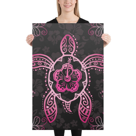 Turtle Hibiscus Pink Canvas - AH - J1 - Alohawaii