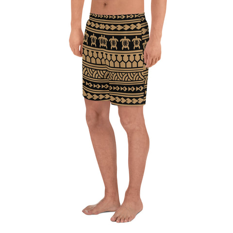 Polynesian Tattoo Tribal Gold Men's Athletic Long Shorts - AH - J1 - Alohawaii