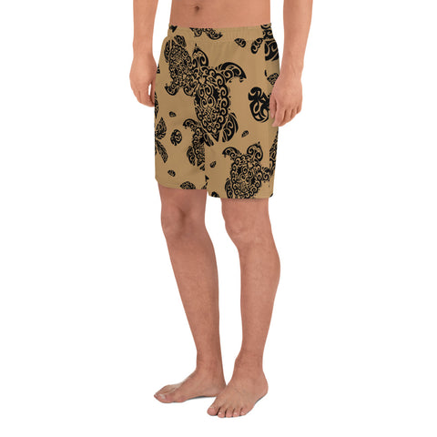 Polynesian Turtle Palm And Sea Pebbles Gold Men's Athletic Long Shorts - AH - J1 - Alohawaii