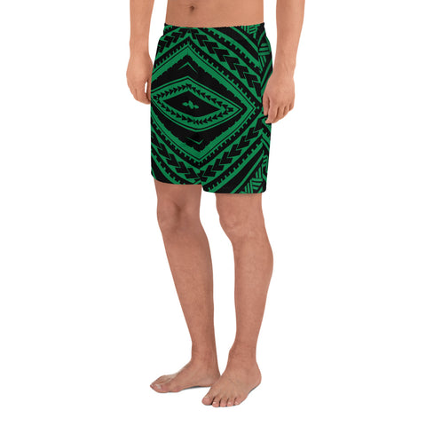 Polynesian Tatau Green Men's Athletic Long Shorts - AH - J1 - Alohawaii