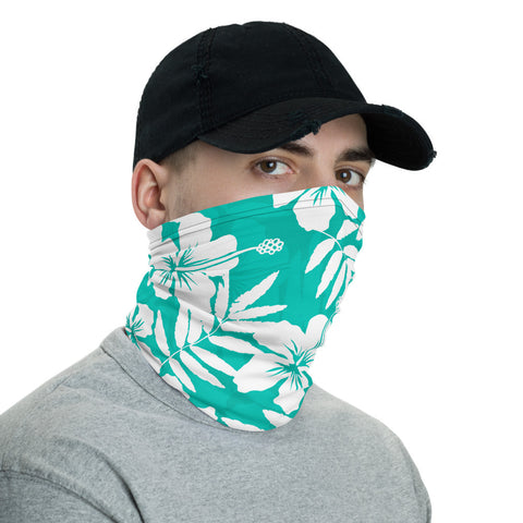 Image of Traditional Hibiscus Turquoise Unisex Neck Gaiter - AH J0 - Alohawaii