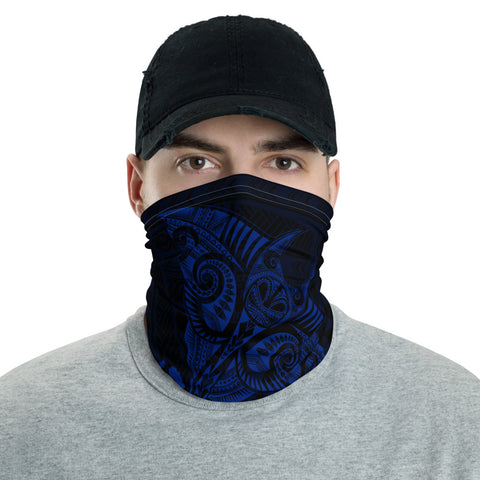 Image of Hawaiian Bandana Manta Ray Map Polynesian Neck Gaiter - Blue  - AH - J4 - Alohawaii