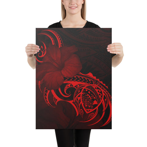 Hawaii Map Turtle Hibiscus Divise Polynesian Red Canvas - AH - J1 - Alohawaii