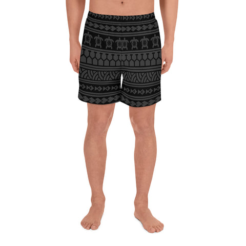 Polynesian Tattoo Tribal Gray Men's Athletic Long Shorts - AH - J1 - Alohawaii