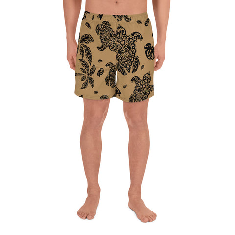 Image of Polynesian Turtle Palm And Sea Pebbles Gold Men's Athletic Long Shorts - AH - J1 - Alohawaii