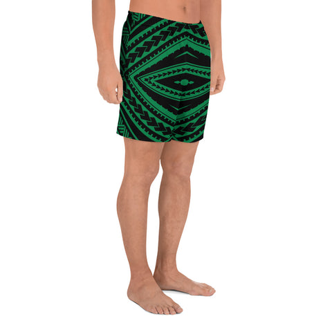 Image of Polynesian Tatau Green Men's Athletic Long Shorts - AH - J1 - Alohawaii