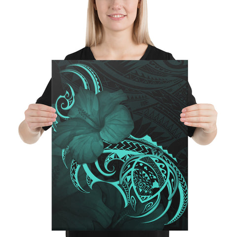 Image of Hawaii Map Turtle Hibiscus Divise Polynesian Turquoise Canvas - AH - J1 - Alohawaii