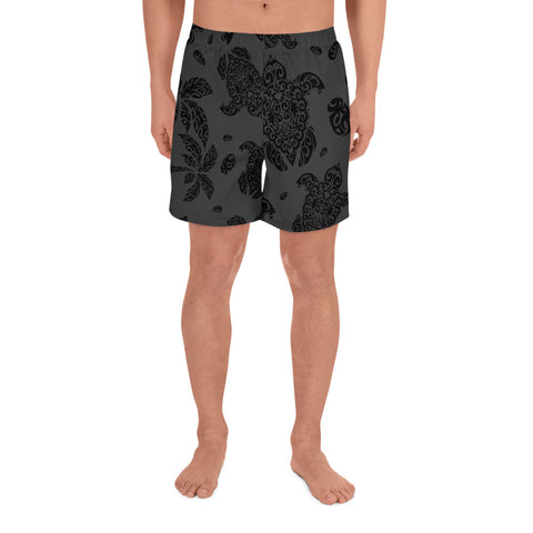 Image of Polynesian Turtle Palm And Sea Pebbles Gray Men's Athletic Long Shorts - AH - J1 - Alohawaii
