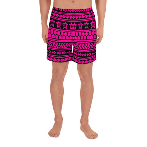 Polynesian Tattoo Tribal Pink Men's Athletic Long Shorts - AH - J1 - Alohawaii