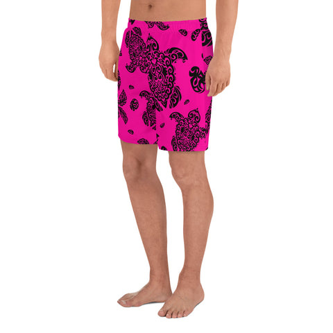 Polynesian Turtle Palm And Sea Pebbles Pink Men's Athletic Long Shorts - AH - J1 - Alohawaii